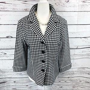 Dressbarn Houndstooth Quarter Sleeve Blazer Jacket